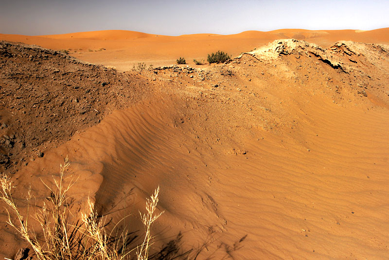 Color and Light Play Across Sand Dunes in the Sahara Desert in Morocco