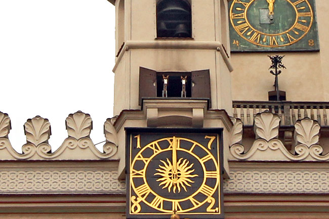 Mechanical billy goats emerge from Old Town Hall tower at noon each day in Poznan, Poland