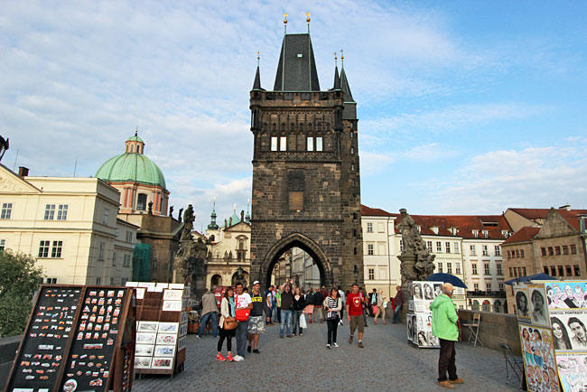 Tacky vendors set up along the length of the Charles Bridge in Prague, Czech Republic