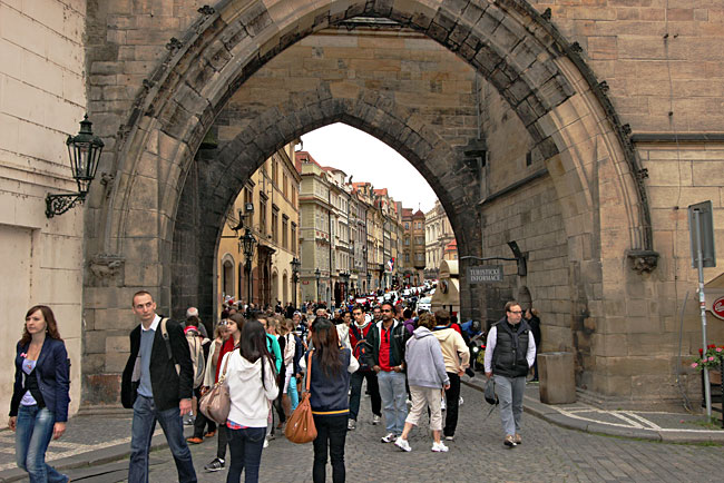 Archway leading from the Charles Bridge to Lesser Town in Prague