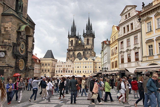 Crowds choke Old Town Square in Prague, making it hard to enjoy the exquisite architecture