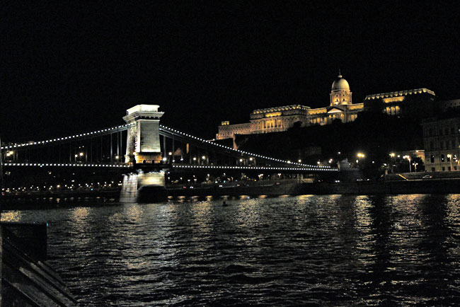 Buda Castle and the Szechenyi Chain Bridge at night from the Danube