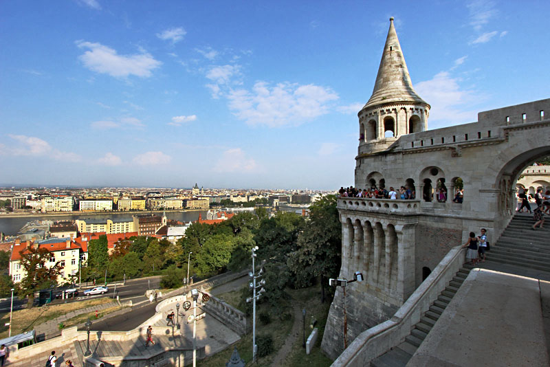 Fisherman's Bastion in Budapest Hungary Provides Excellent Views Over the City From High Atop Buda Hill