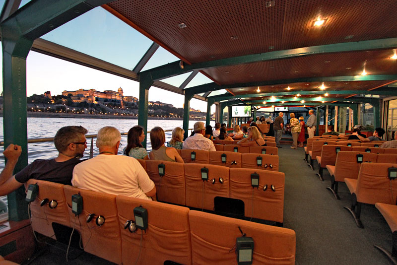View of Buda Castle During Legenda Cruise Down the Danube River in Budapest, Hungary