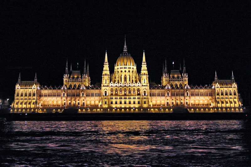 Hungarian Parliament Building in Budapest Hungary lit up at night