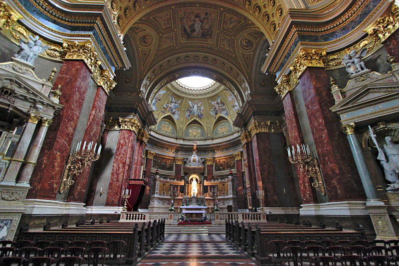 Interior of Saint Stephens Basilica in Budapest Hungary