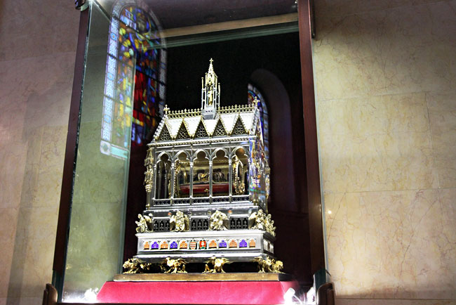 The Reliquary of St. Stephen's Basilica, which contains the incorruptible right hand of St. Steven I, first King of Hungary, in Budapest