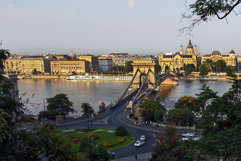 Szechenyi Chain Bridge in Budapest Hungary seen From the Hills on the Buda Side of Town