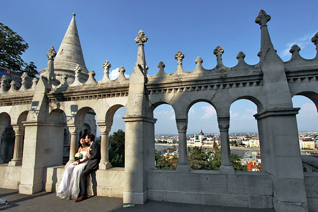 Wedding at Fisherman's Bastion on the Buds side of Budapest