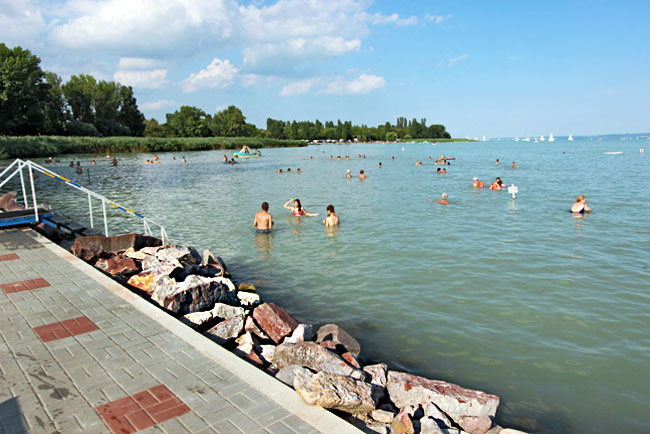 Swimming beach at Révfülöp, Lake Balaton, Hungary