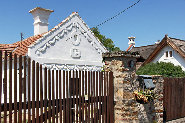 Plaster decorations on a traditional peasant cottages in the Kali Basin, in the hills above Lake Balaton, Hungary