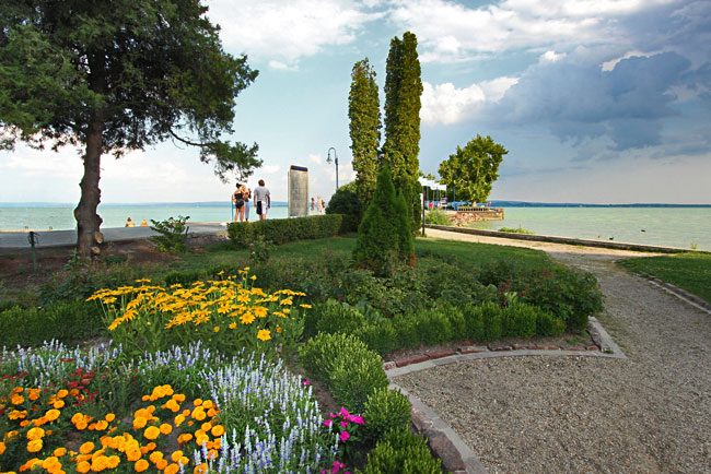 Révfülöp pier and gardens at Lake Balaton, Hungary
