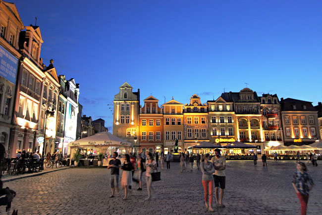 Poznan's pretty Old Town Square, illuminated by night