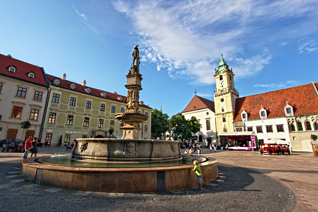 Primacialny Namestie (Primatial Square) in the historic center of Bratislava by day