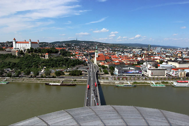 View over the old town of Bratislava, Slovakia from the top of UFO Tower