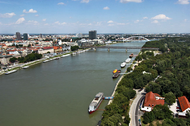 View over the Danube River from the top of UFO Tower in Bratislava, Slovakia
