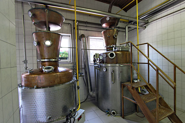 Distillation tanks at the Panyola Pálinka Distillery