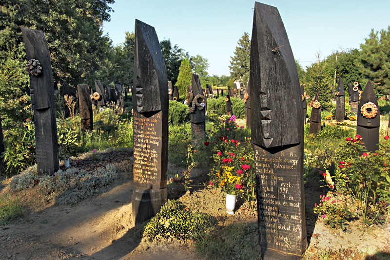 Hungary-Szatmar-County-Szatmarcseke-Boat-shaped-headstones-in-cemetery