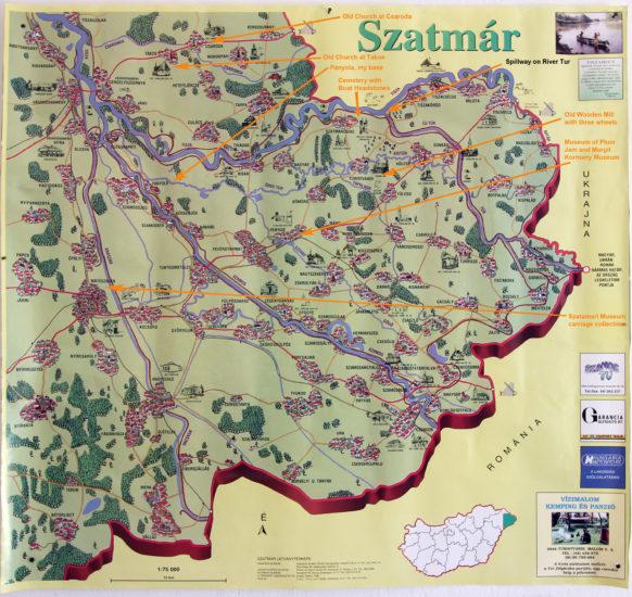 Tourist sites on a mapof Szatmar County, Hungary