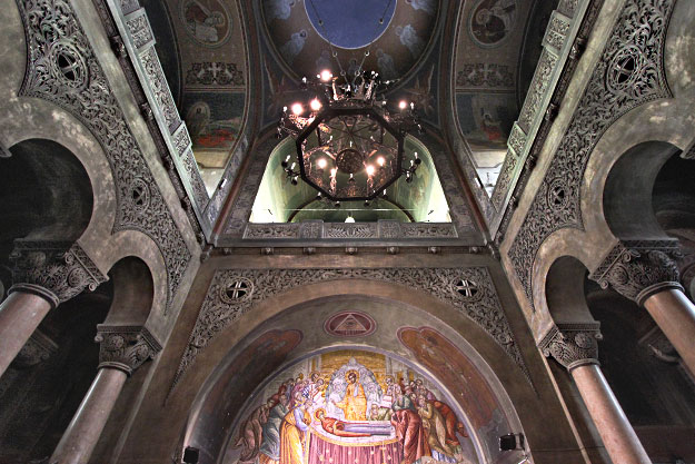 Exquisite artwork on walls and ceiling of Dormition of the Theotokos Orthodox Cathedral