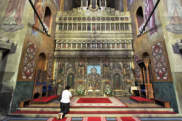 Sanctuary and icons at Dormition of the Theotokos Orthodox Cathedral in Cluj-Napoca, Romania
