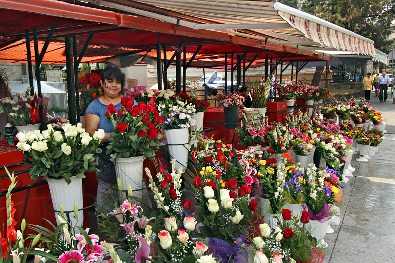 It's Obvious that this Flower Vendor in Cluj-Napoca, Romania, Loves Her Job