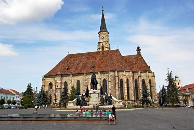 Matthias Corvinus Statue and Saint Michael's Cathedral on Unirii Square