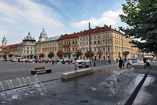 Burbling fountains in Unirii Square, the heart of the city