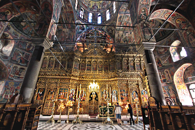 "Hand carved, gold plated iconostasis inside ""The Nativity of the Virgin"" church at Rila Monastery in Bulgaria"