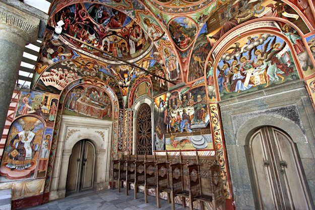 "Frescoes on ""The Nativity of the Virgin"" church at Rila Monastery in Bulgaria"