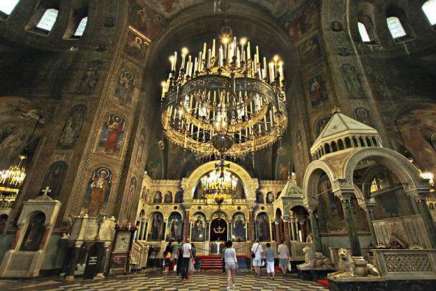 Gold iconostasis at Saint Alexander Nevsky Orthodox Cathedral separates the sanctuary from the main part of the church Sofia Bulgaria