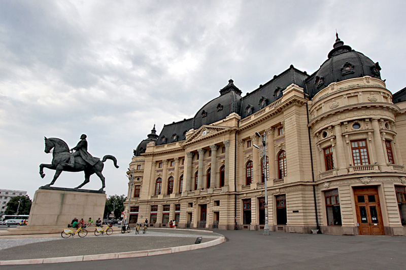 Statue in Front of Central University Library in Bucharest Honors King Carol I of Romania
