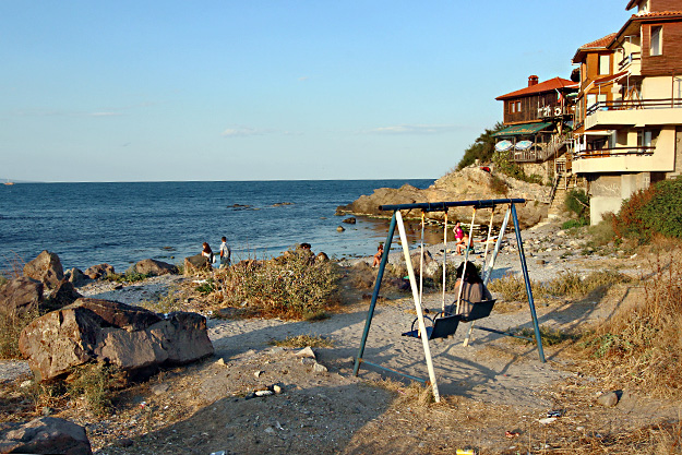My room in the house at the upper right overlooked this pocket beach at the tip of the old town peninsula in Sozopol