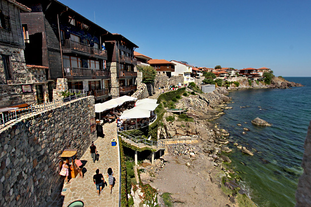 Ruins of the southern fortress wall and tower on the Sozopol peninsula, parts of which date to the early 5th century