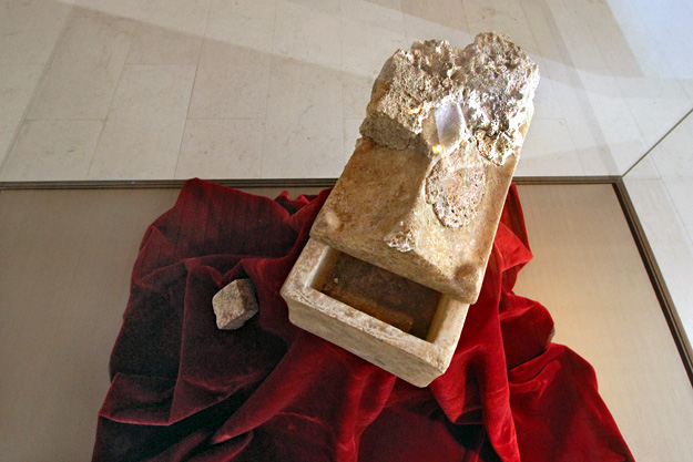 Bones in this alabaster coffin, discovered buried near the altar in the ruins of the ancient monastery on St. Ivan Island, are believed to be those of John the Baptist