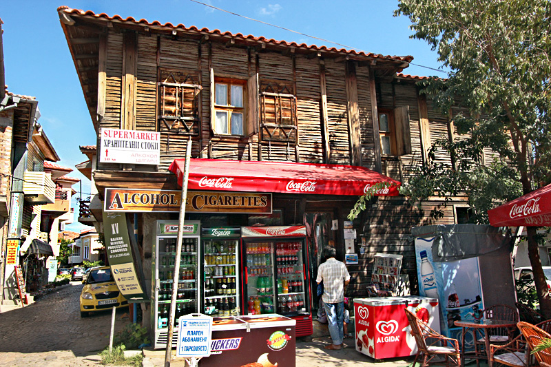 Traditional Wooden House in the Main Square of Sozopol, Bulgaria, is Home to a Mini-market
