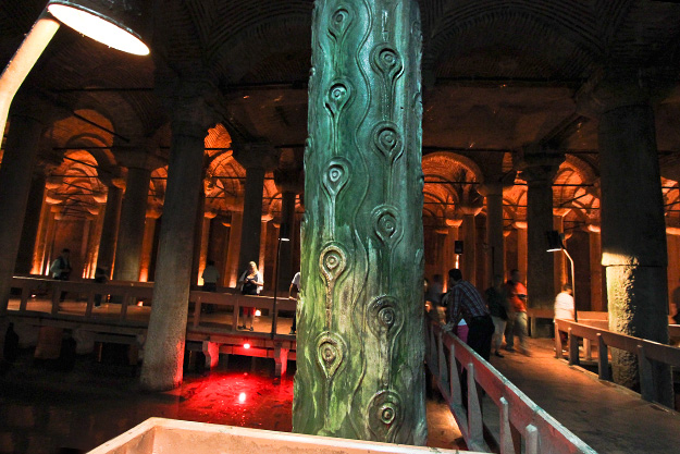 Tears carved into column in Basilica Cistern represent the 7,000 slaves who died during its construction