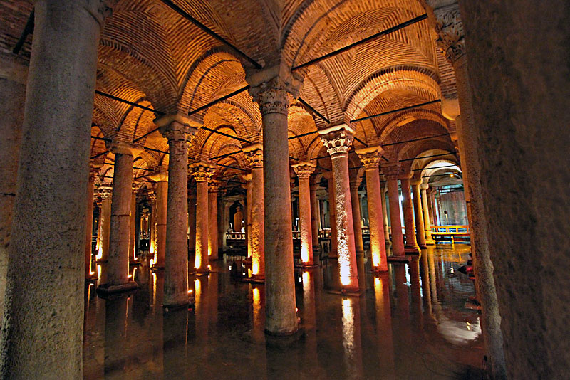 Basilica Cistern Provided Water Storage During Roman Times in Istanbul, Turkey, Then Known as Constantinople