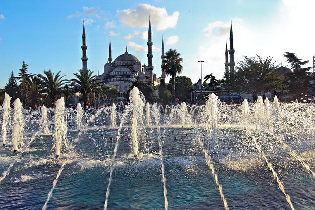 Blue Mosque, seen from the central fountain in Sultanahmet Park, is among the unmissable things to do in Istanbul, Turkey