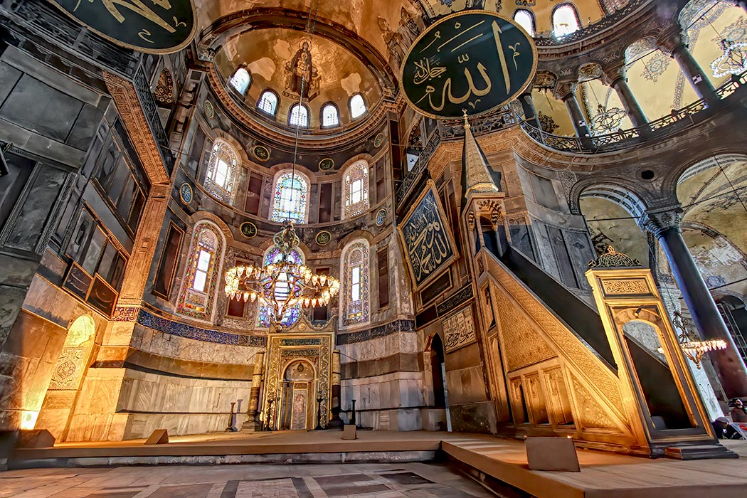 Interior of the main worship hall at the Hagia Sophia in Intanbul Turkey