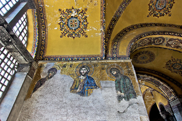 The Deësis mosaic with Christ as ruler is one of the Christian mosaics discovered beneath layers of plaster at the Hagia Sofia
