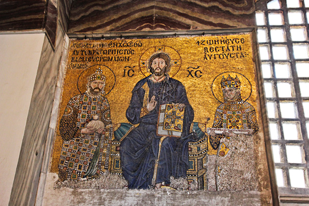 An 11th century mosaic in Istanbul's Hagia Sophia. Christ Pantocrator is seated in the middle. On his right side stands emperor Constantine IX Monomachos; on his left side is empress Zoe.