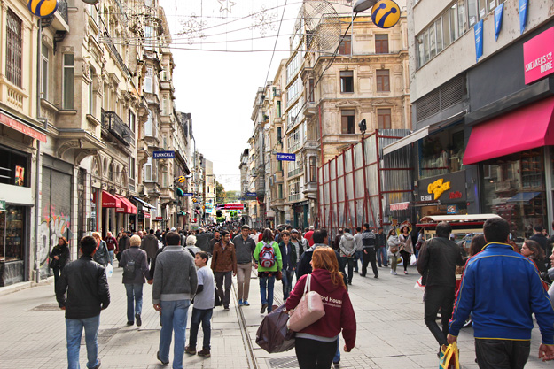 Istiklal Street in Istanbul leads between Taksim Square and the Galata Tower