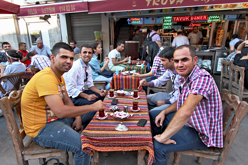 Men in Istanbul Take a Typical Afternoon Break for Turkish Tea
