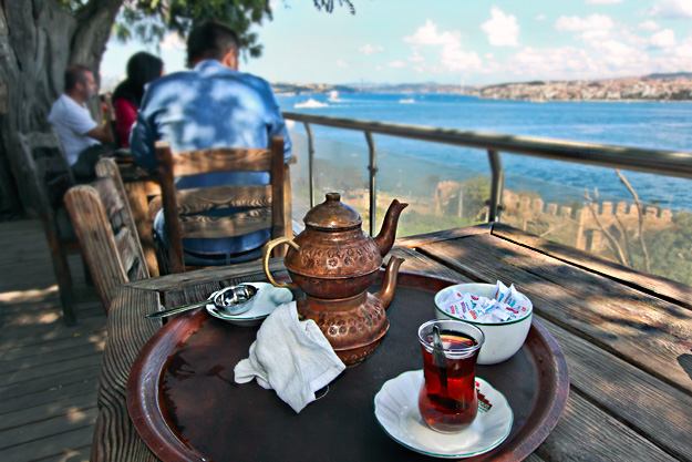 Turkish tea, served cliffside in Gulhane Park, with a view over the Bosphorus