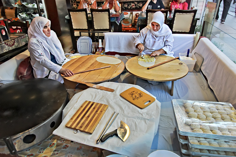 Women Seated in the Front Window of This Turkish Restaurant in Istanbul Make Fresh Breads