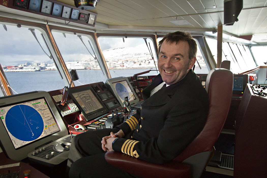 In Norway, on the bridge of the Hurtigruten's MS Richard With, Captain Tommy Eliassen explains operation of the ship