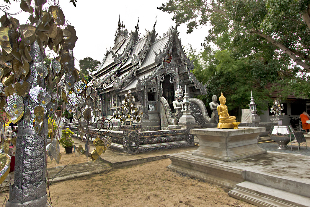 Ordination Hall at Wat Srisuphan in Chiang Mai, Thailand drips with hammered aluminum and silver