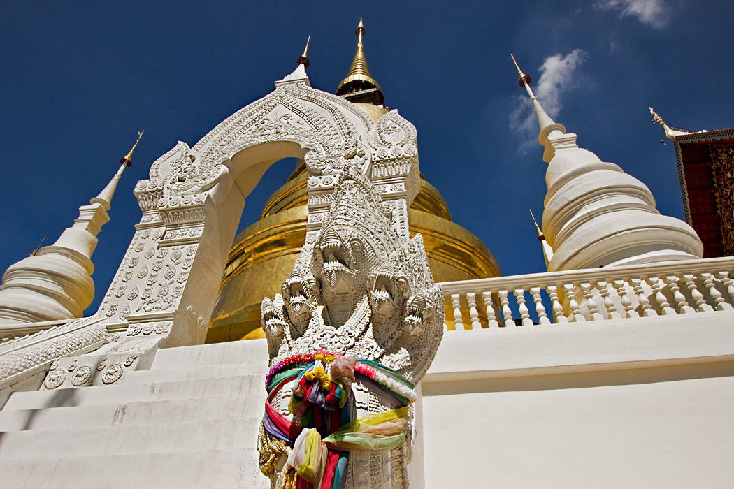 Golden and brilliant white chedis at Wat Suan Dok in Chiang Mai, Thailand