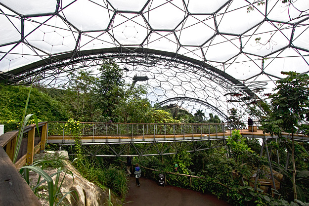 On the Skywalk inside the Rainforest Biome, at Eden Project